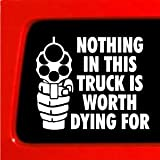 NOTHING in this TRUCK is worth dying for! funny die cut vinyl decal / sticker