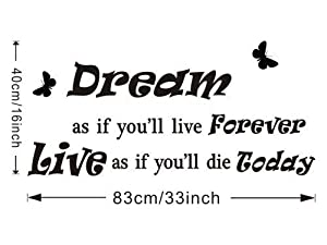 Good Life Dream As If You'll Live Forever Vinyl Wall Decals Quotes Sayings Words Art Inspirational D¨¦cor by decalgeek