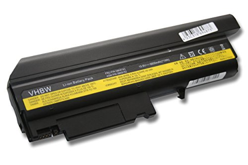 vhbw Li-Ion Batterie 6600mAh (10.8V) pour ordinateur portable, Notebook IBM ThinkPad T43 2668, T43-1876, T43P, T43P-2668 comme ASM 92P1076.