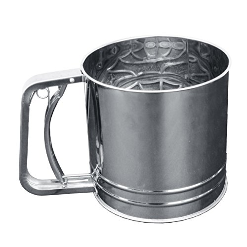 "Focus Foodservice 530 Rotary Flour Sifter, 5 Cups, Heavy Duty 18-8 Stainless Steel, 5-1/4"" Diameter, 5"" Height"