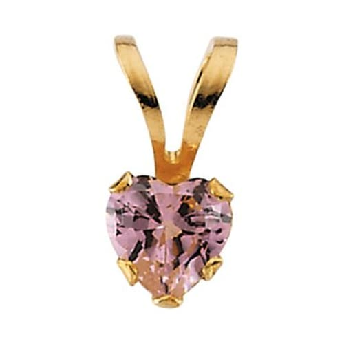 14k Yellow Gold Pendant with Heart Shape Pink Cubic Zirconia.