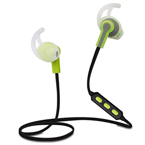 Mosunx(TM) Bluetooth Wireless In-Ear Stereo Headphones Fitness Sports Headphones (Green)