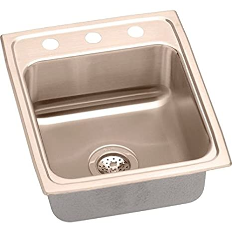 Elkao|#Elkay LRAD1522603-CU 18 Gauge Cuverro Antimicrobial copper 15 Inch x 22 Inch x 6 Inch single Bowl Top Mount Sink 3 Hole,