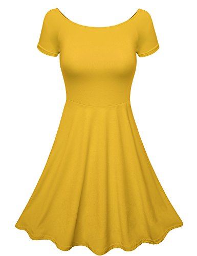 ZENNESSA Women's Cocktail Dress Garden Party Flare Dress Medium Yellow