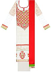 Zuha Collection Women's Cotton Dress Material (White)