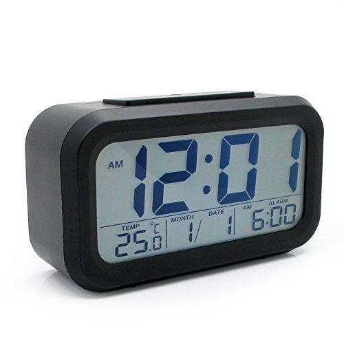 Jcc Automatic Night Glow Smart Light-Activated Sensor Bedside Digital Snooze Alarm Clock With Date And Temperature Display (Black) front-35635
