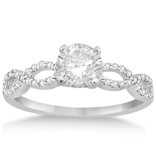Infinity Twisted Diamond Engagement Ring Setting Women In 18K White Gold With 42 Diamonds 0.21Cw