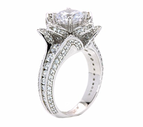 Blooming Rose Flower Pave CZ White Gold Plated Engagement Ring (6) (Floral Engagement Ring compare prices)
