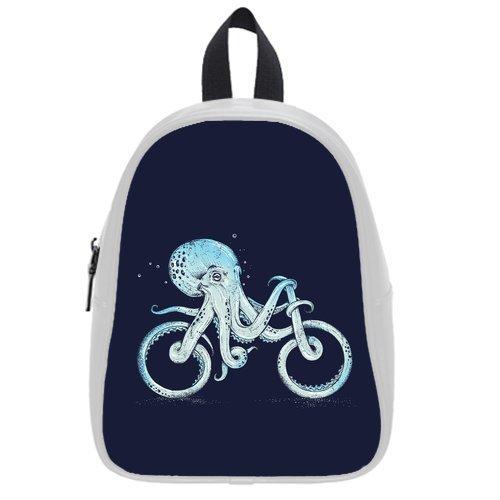 Generic Custom Octopus Bicycle Shape Printed White School Bag Backpack Fit Short Trip PU Leather Medium