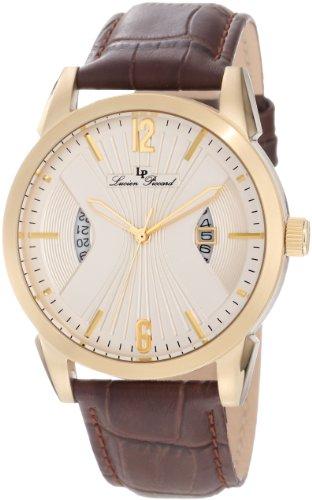 Lucien Piccard Men'S Lp-11561-Yg-02S Watzmann Brown/Goldtone Textured Leather Watch