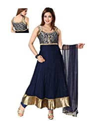 Ritu Creation Women's New Makhi Net Stitched Fancy Anarkali Suit With Front&Back Work(Navy Blue)