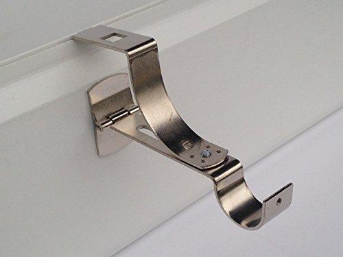 2 supports sans perçage GEKO pour tringle à rideaux diamètre 28 mm - Spécial caisson de volet roulant à rainure - Colori : Nickel