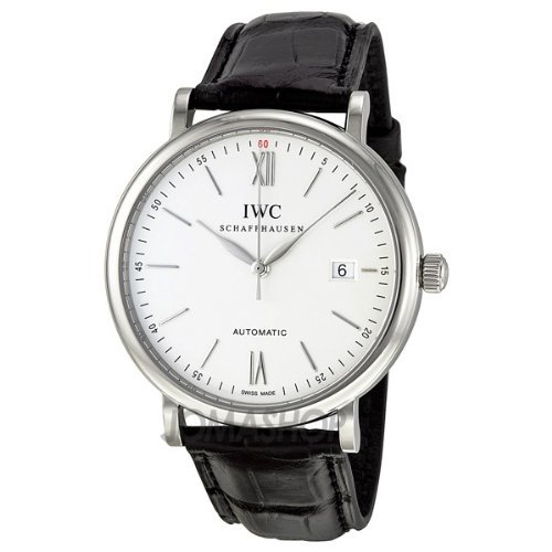 iwc-homme-40mm-bracelet-cuir-noir-boitier-acier-inoxydable-automatique-cadran-argent-montre-iw356501