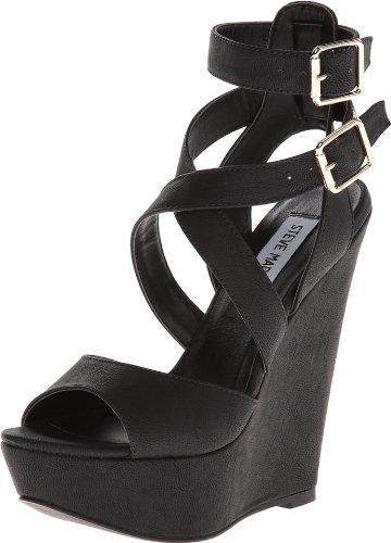 Steve Madden Women'S Xfoliate Wedge Sandal,Black,7 M Us front-1069272