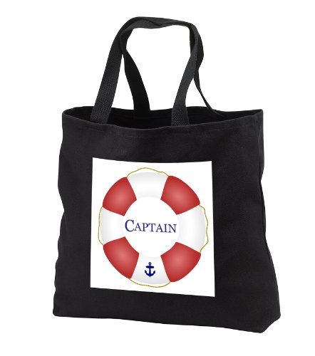 [InspirationzStore Nautical Designs - Captain lifesaver - ship life preserver - nautical boat ocean sailing - yacht sailor - sea fisherman - Tote Bags - Black Tote Bag 14w x 14h x 3d] (Life Preserver Sailor Purse)