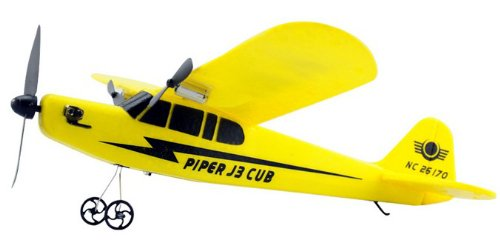 Big size Piper J-3 Cub RC 2ch Cessna type of 33cm to apply a firmament [yellow] electric airplane