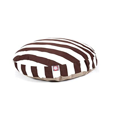 Chocolate Vertical Stripe Round Pet Bed, Large