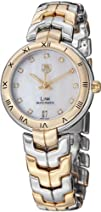 Tag Heuer Link Mother of Pearl Diamond Dial 18kt Yellow Gold Stainless Steel Ladies Watch…