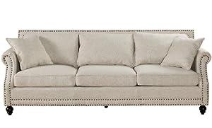 Amazoncom TOV Furniture Camden Linen Sofa Beige