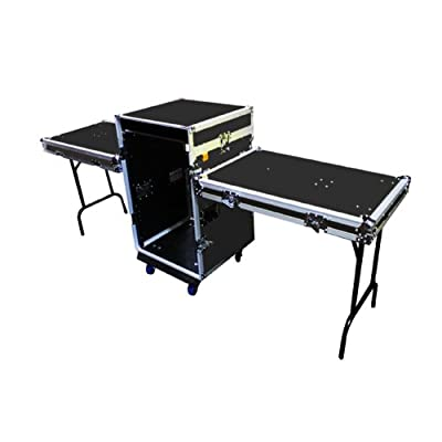 Mr. Dj CASE7000BK Flight Chest Style DJ Case with Mixer/CD Case and Built-In Folding Table (Black)