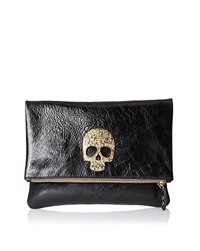 Moss Mills Women's Flores Foldover Clutch with 24K Gold, Black Rodeo