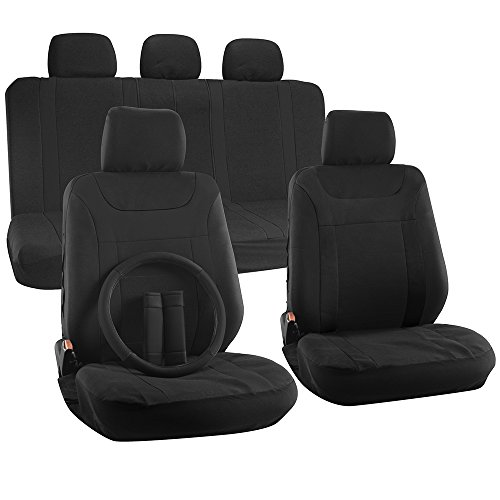 OxGord 17pc Set Flat Cloth Mesh Solid Black Y Stripe Seat Covers Set - Airbag Compatible - Front Low Back Buckets - 50/50 or 60/40 Rear Split Bench - 5 Head Rests - Universal Fit for Car, Truck, Suv, or Van - FREE Steering Wheel Cover (2015 Honda Crv Back Seat Covers compare prices)