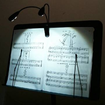 2 Dual Arms 4 LED Flexible Book Music Stand Clip On Light Lamp Black by Completestore