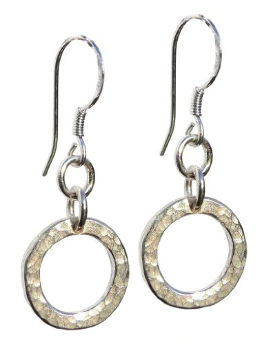 Handmade 925 Sterling Silver Hand Hammered Hoop Drop Earrings. FREE Delivery in UK - Gift wrapped