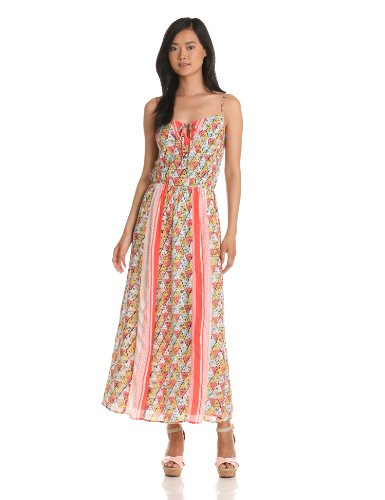Ella moss Women's Tiki Maxi Dress, Coral, Small