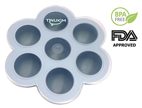 buy Tinukim Compact Silicone Baby Flower Food Storage Tray with Lid: Awesome 7 Cavity, 2 oz. Portions Freezer Tray Container for Homemade Baby Food like Breast Milk, Mashed Vegetable & Fruit Purees (Blue) for sale