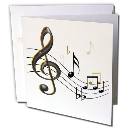 3dRose Music notes Clef - Greeting Cards, 6 x 6 inches, set of 6 (gc_55502_1)