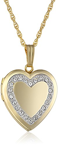 """14k Yellow Gold-Filled Crystal Heart Locket Necklace, 18"""""""