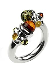 Multicolor Amber Sterling Silver Perfect Modern Ring