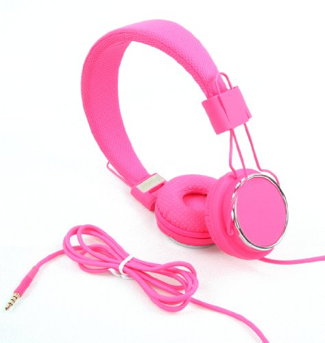Jntworld Hot Pink Dj Over The Head Stereo Earphone Headphone Handsfree Headsets With In-Line Mic Cable For Apple Iphone 4 4S 5 Samsung Galaxy S3 S 3 Siii Lte Note Note Ii I9300 I9500 S4
