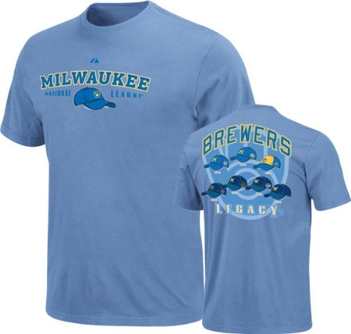 Milwaukee Brewers Cooperstown Baseball Nostalgia Light Blue T-Shirt