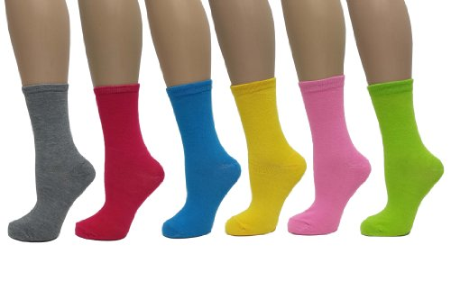 Women's 6 Pack Solid Color Crew Cut Socks