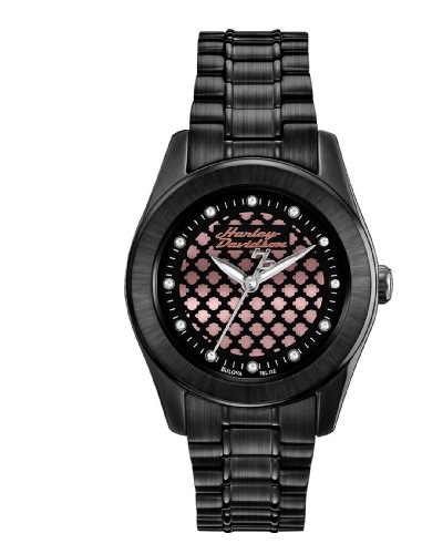 Harley Davidson Women's Quartz Watch with Black Dial Analogue Display and Black Stainless Steel Plated Bracelet 78L112