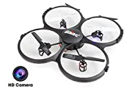 UDI U818A-HD 2.4GHz 4 CH 6 AXIS Headless RC Quadcopter w/ HD Camera, Extra Battery and Return Home Function
