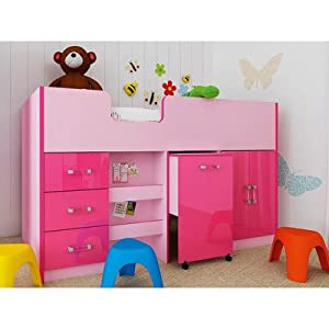 Marconie Mid Sleeper Bunk Bed Colour: Pink High Gloss
