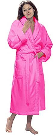 byLora Shawl Terry Cotton Womens robes, HOT PINK, Size S/M