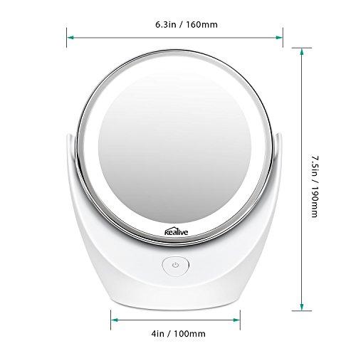 Kealive espejo de maquillaje iluminado de aumento 5x 1x for Espejo aumento con luz
