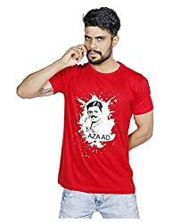 Lafangey Unisex Round Neck Cotton T-Shirt (Azaad1_02_Red_Large)