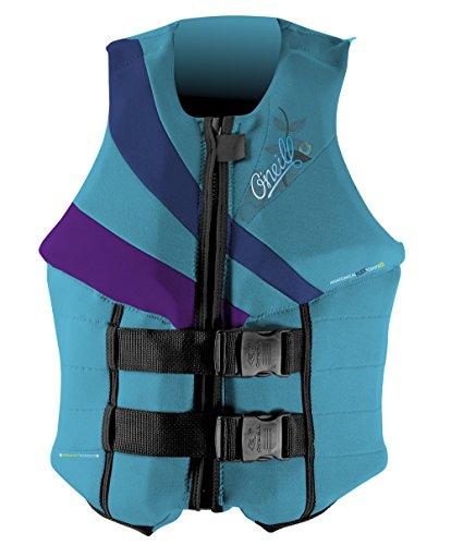 O'Neill Wetsuits Wake Waterski Womens Siren LS USCG Life Vest, Turquoise/Graphite/UV, 6