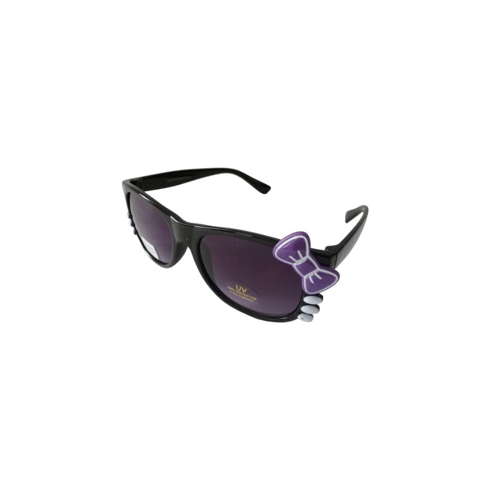 Sanrio Hello Kitty Style Inspired Wayfarer Sunglasses with Bow and Whiskers   Black Frame with Purple Bow