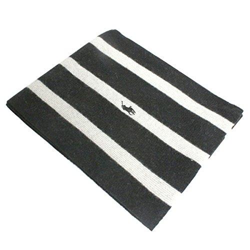 (ポロラルフローレン) POLO RALPH LAUREN ポニー ラムウール スカーフ マフラー レディース メンズ ユニセックス 6F0266 002 ブラック×クリーム