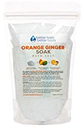 Orange Ginger Bath Salt 1 Pound - Pure Epsom Salt With Orange & Ginger Essential Oil & Vitamin C Crystals - Enjoy Refreshing Citrus & Detoxifying Ginger Bath Soak - No Perfumes No Dyes