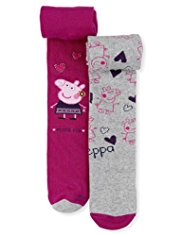 2 Pairs of Cotton Rich Peppa Pig Tights