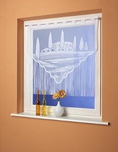 Fadenpanneaux, Scheibengardine, Vorhang Toscana (weiß, 100x100 cm)