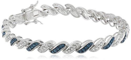 Sterling Silver Blue and White Swarovski Elements Crystal Alternating Twisted Tennis Bracelet, 7.25