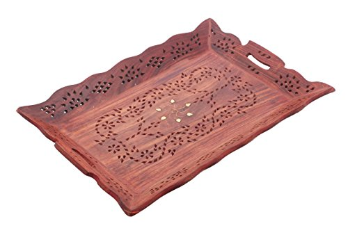 Wood Handmade 15 X 10 Inch Tray - Wooden Serving Tray with Brass Etchings Flower Design, Decorative wood tray,Dining tray,Wooden crafted Serving Tray,Gift for Christmas or Birthday